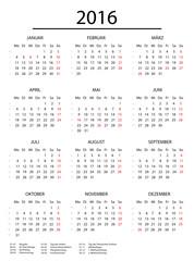 Jahreskalender 2016 mit Feiertagen