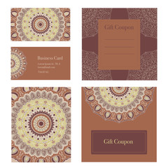 Mandala business set. Vector background. Business cards, invitation, sale coupon, gift coupon. Vintage decorative elements. Hand drawn background. Islam, arabic, Indian, ottoman motifs.