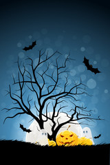 Halloween Background with Pumpking and Ghost