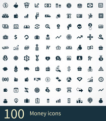 money 100 icons universal set