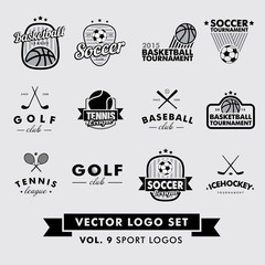 Retro Vintage Hipster Sport Vector Logo Set. Baseball, tennis, soccer, football, golf, icehockey, basketball.