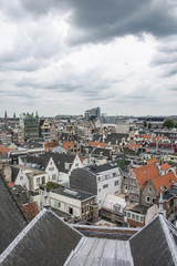 The cloudy sky above the roofs of Amsterdam