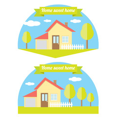 vector house illustration. home sweet home