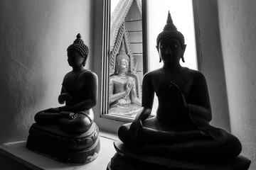 black and white of buddha image, Thailand