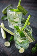 Glasses of fresh,home-made  fresh cucumber juice