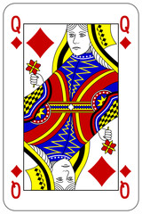 Poker playing card Queen diamond