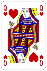 Poker playing card Queen heart