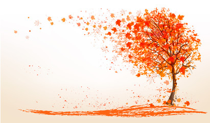 Autumn background with a tree and golden leaves. Vector.