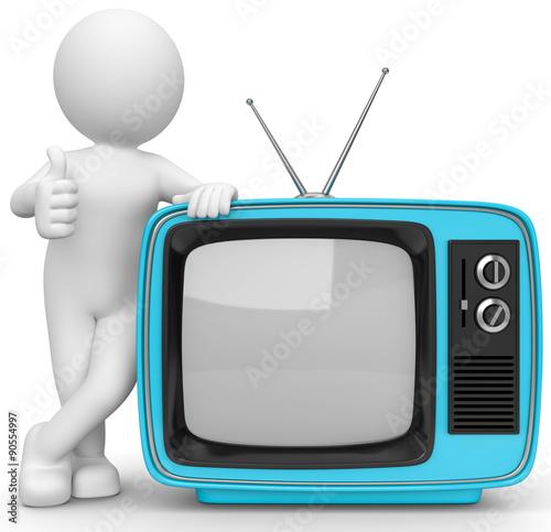 3d m nnchen mit fernseher stockfotos und lizenzfreie bilder auf bild 90554997. Black Bedroom Furniture Sets. Home Design Ideas