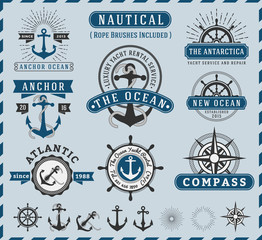 Set of Nautical, Navigational, Seafaring and Marine insignia logotype vintage design with anchor, rope, steering wheel, starburst, sunburst element | Only Free Font Used, Vector illustration