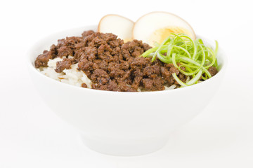 Lu Rou Fan (Taiwanese Braised Pork Rice Bowl) - Ground pork marinated and boiled in soy sauce served on top of steamed rice.