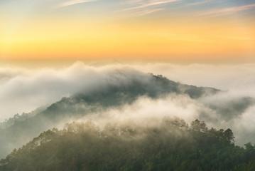 beautiful sunrise and mist in moring at Doi angkang , chiangmai