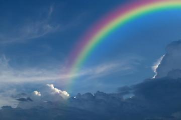 Blue sky with rainbow