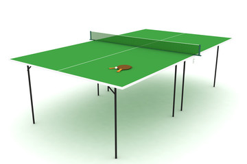 Isolated ping pong table.