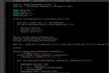 Program code on a dark screen