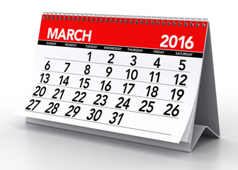March 2016 Calendar. Isolated on White Background. 3D Rendering