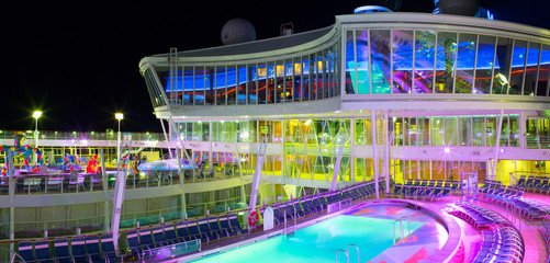 Open pool deck of the luxury cruise ship.