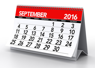 September 2016 Calendar. Isolated on White Background. 3D Render