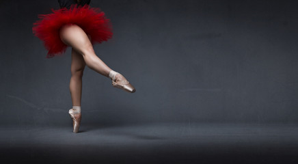 ballerina with tutu indicated with foot