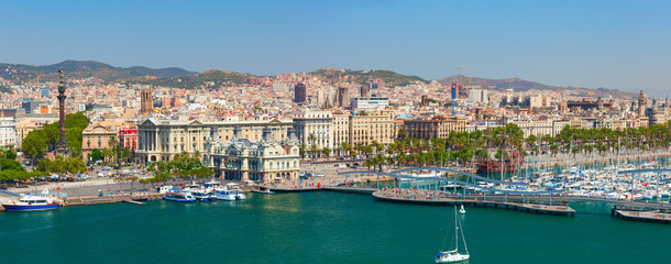 Foto op Canvas Barcelona The Port of Barcelona has a 2000-year history and great contemporary commercial importance as one of Europe's ports in Mediterranean, and Catalonia's largest port