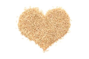 Long grain brown rice in a heart shape
