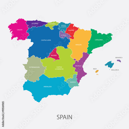 Spain regions map vector stock image and royalty free vector files spain regions map vector gumiabroncs Image collections