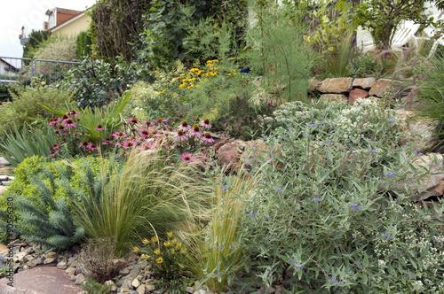 steingarten trockenmauer fuenf monate nach bepflanzung stockfotos und lizenzfreie bilder. Black Bedroom Furniture Sets. Home Design Ideas