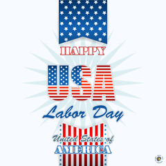 Labor day, abstract computer graphic background with flag and stars; Holidays, layout, template with blue, white and red stars and national flag colors for American Labor Day; Space for text