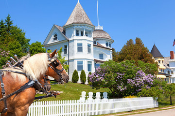 Wedding Cake Cottage on West Bluff Road - Mackinac Island Michigan
