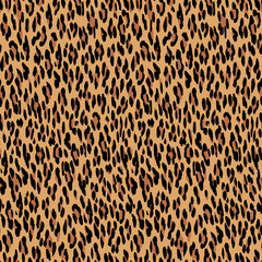 Seamless leopard pattern. Animal skin texture. Natural fur leopard print. Leopard skin background. Animal spot illustration. Wildlife safari concept.
