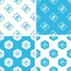 3D movie patterns set, simple and hexagon, blue and white