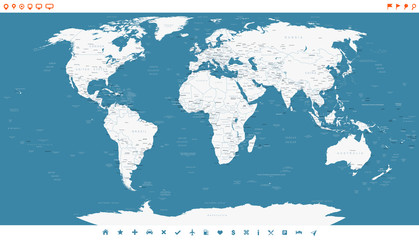 Steel Blue World Map and navigation icons - illustration. Highly detailed world map. Countries, cities, water objects.