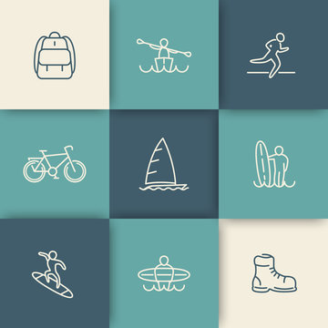 Travel, adventure, surfing, linear icons set, vector illustration, eps10, easy to edit