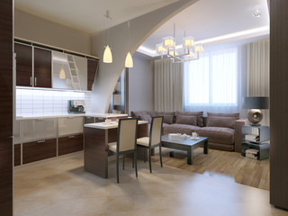 Modern kitchen with lounge on background