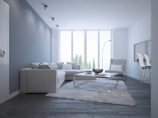 Idea of bright minimalist lounge