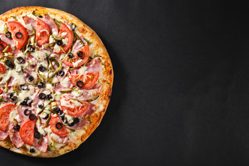 Hot tasty delicious rustic homemade american pizza with thick crust