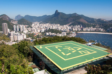 Helipad on Urca Mountain with the view of Rio de Janeiro