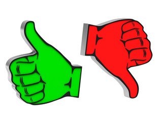 on white background thumbs up down