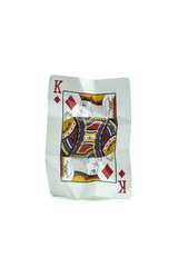 King of Diamonds  Crumpled Playing Cards on white background