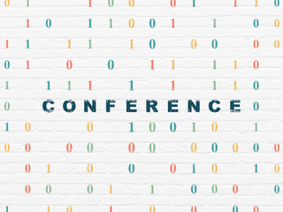Finance concept: Conference on wall background