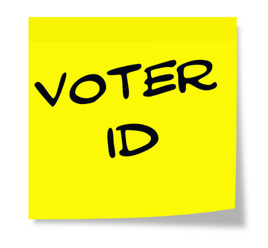 Voter ID written on a yellow sticky note