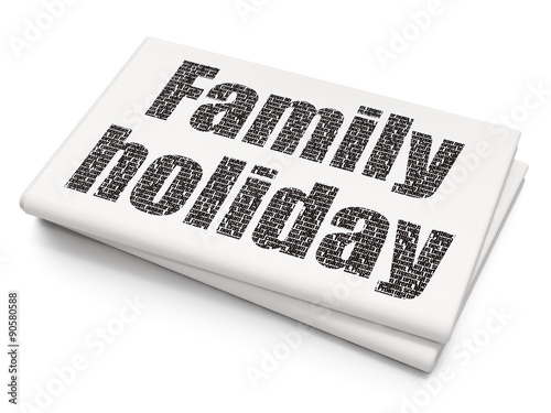 Tourism Concept Family Holiday On Blank Newspaper Background Stock