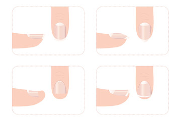 Different nail shapes with fingers