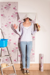 handsome woman posing wallpaper on the walls of her home