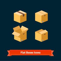 Flat style boxes isometric icons