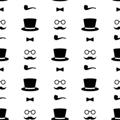 Seamless pattern with tobacco pipe, bow tie, hat, mustache and glasses. Black and white hipster retro style vintage background. Gentleman's set vector illustration.