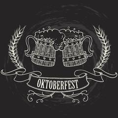 Oktoberfest menu alcohol beer bar restaurant festival chalkboard vintage vector illustration
