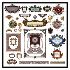 Antique map elements borders and frames