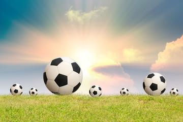 Soccer ball on grass sky background.