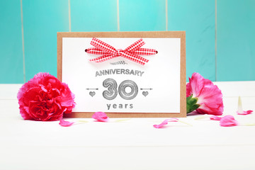 30 Year Anniversary message card